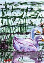 Cozy Geese - Painting by artist DJ Geribo