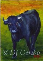 Daily Paintings - Animals by artist DJ Geribo - Big Blue Bull