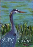 Daily Paintings - Animals by artist DJ Geribo - Blue Heron Hunting