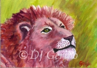 Daily Paintings - Animals by artist DJ Geribo - Lion Sunning
