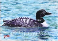 Daily Paintings - Animals by artist DJ Geribo - Loon on the Lake