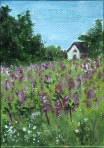 Lupine Homestead - Painting by artist DJ Geribo