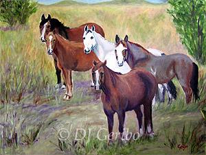 Mustangs - Painting by artist DJ Geribo